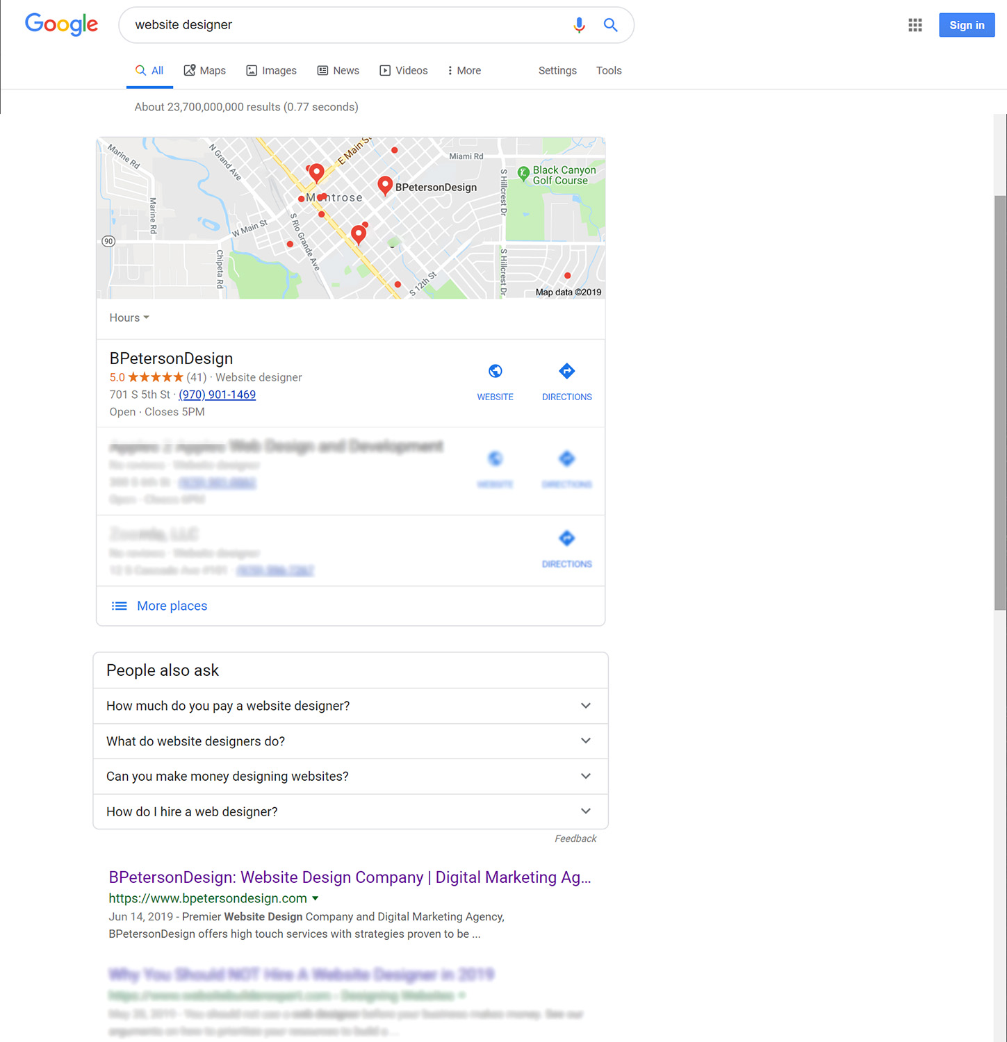 Google Search Results for Website Designer