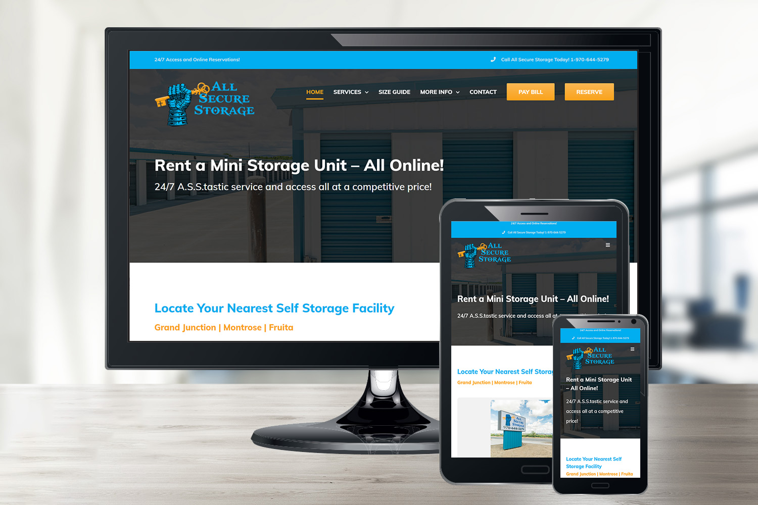 All Secure Storage's Small Business Website Design in Grand Junction, CO