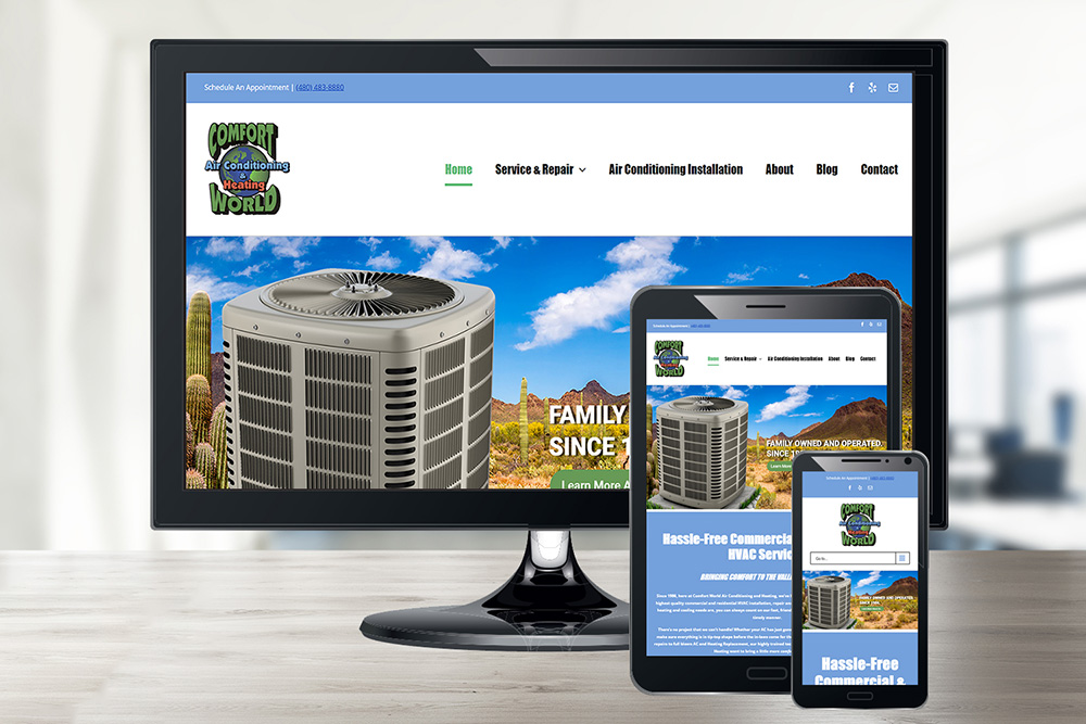 Comfort World's Small Business Website Design in Scottsdale, AZ
