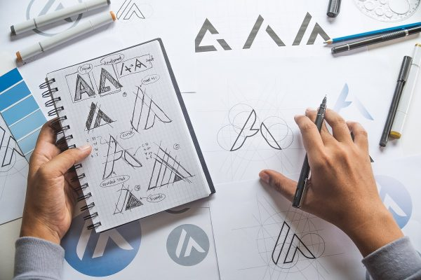 graphic designer working on fonts and logo
