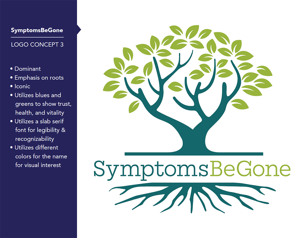 New Logo Design and Color Branding for SymptomsBeGone in Montrose, CO