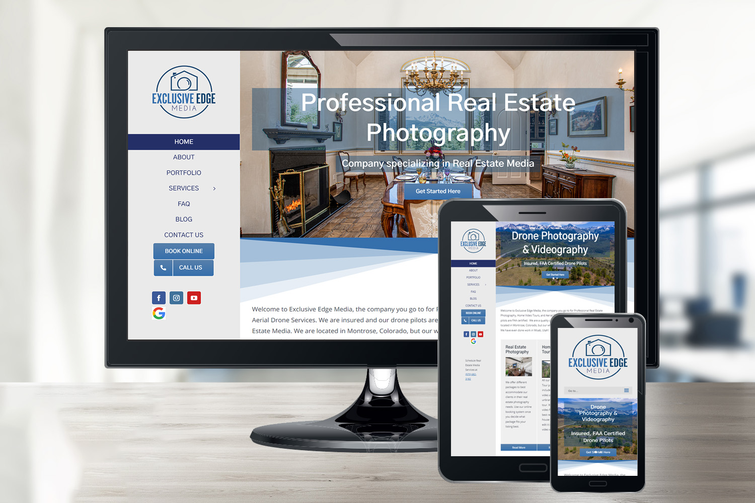 Responsive Website Design we did for Montrose business, Exclusive Edge Media