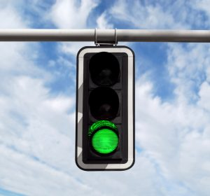 "A traffic light on green, matches the saying, ""Green means go!"" in SEO optimization."