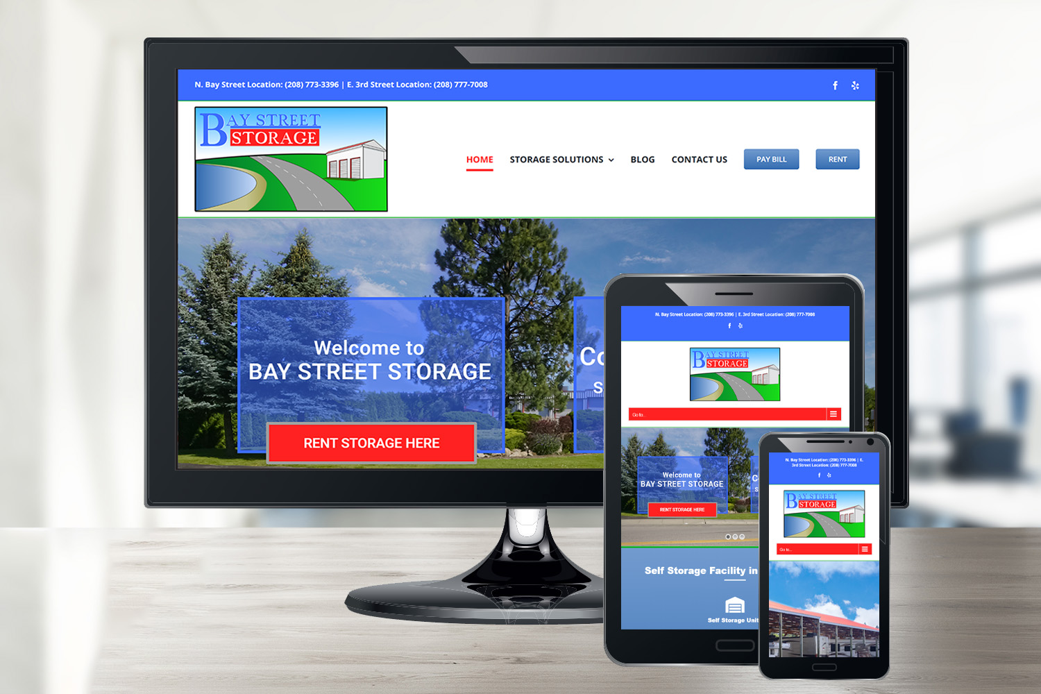 Bay Street Storage Small Business Website Design in Post Falls, ID
