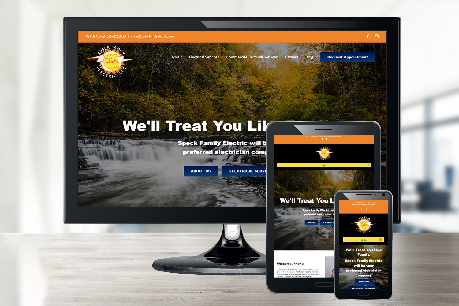 Service Industry Website for Speck Family Electric