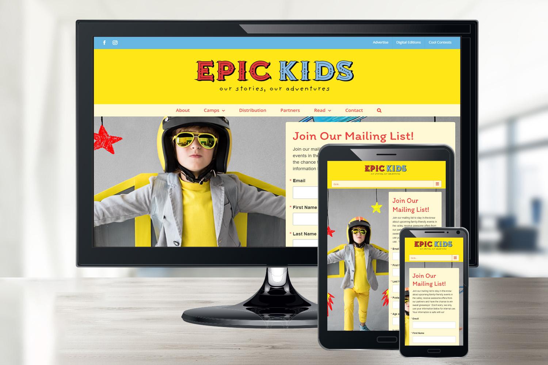 Screenshot of responsive website for Epic Kids AZ