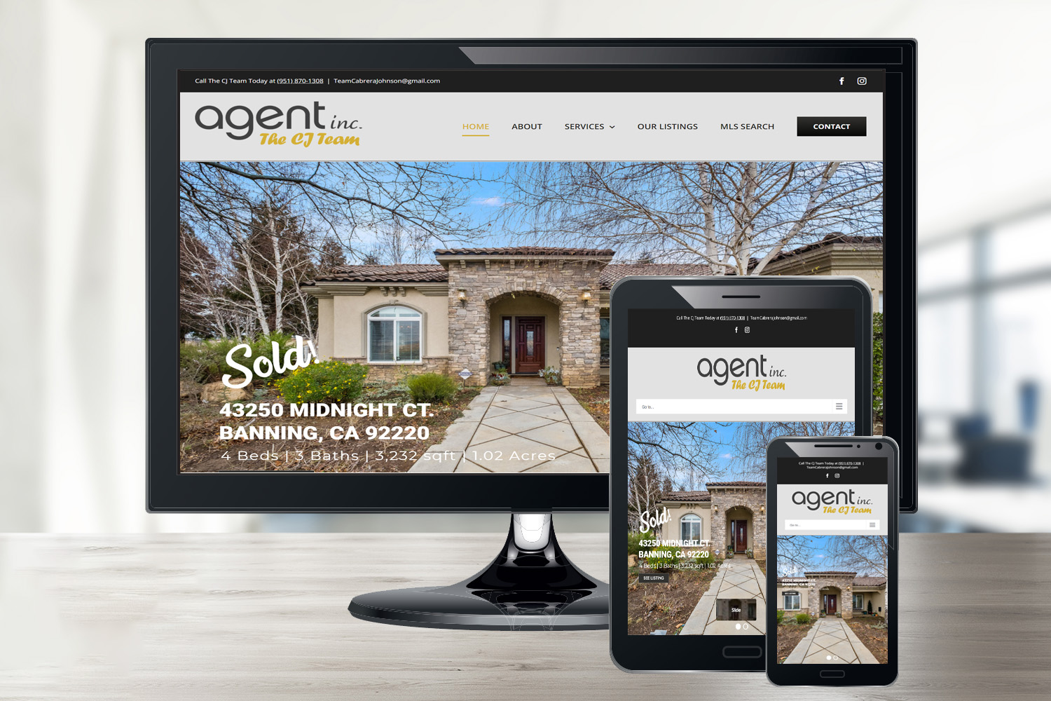 Responsive Display of website we did for a Corona, CA real estate team