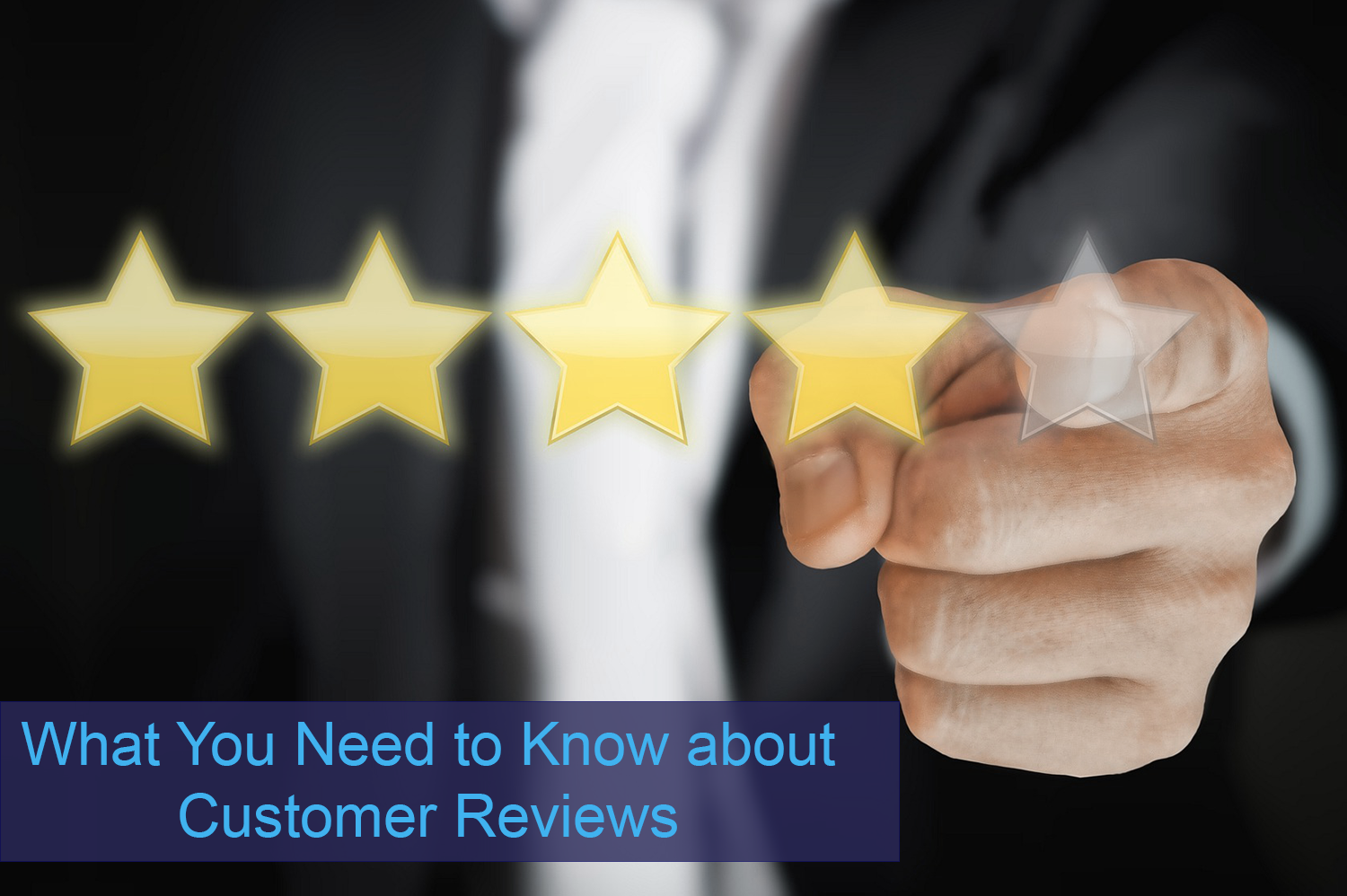 Man in black suit pointing to floating stars of a customer review.